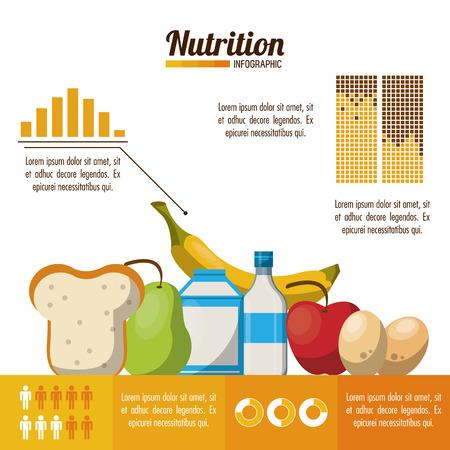 Nutrizione e cibo infografica con statistiche ed elementi illustrazione grafica vettoriale