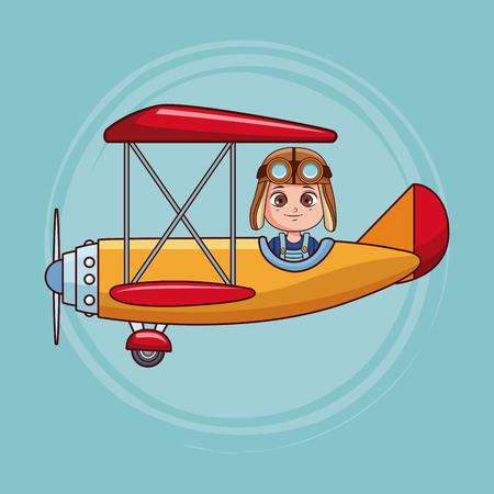 Cute boy flying vintage airplane cartoon vector illustration graphic design