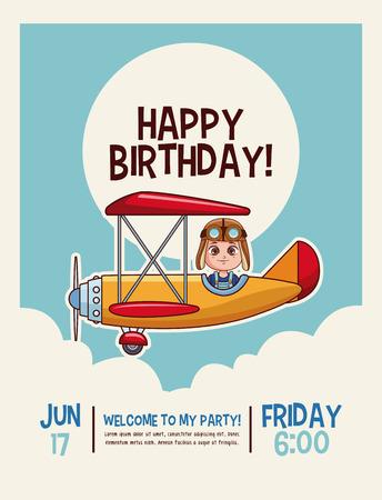 Happy birthday cute kids cartoons card vector illustration graphic design