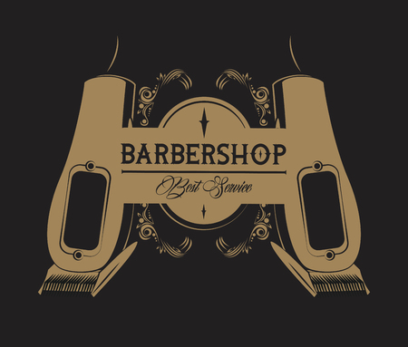 Barbershop vintage emblem with retro drawings browcolors vector illustration graphic design Vettoriali
