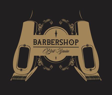 Barbershop Vintage Emblem mit Retro-Zeichnungen Browcolors Vektor-Illustration Grafikdesign
