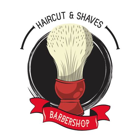 Barbershop vintage emblem with colorful retro drawings vector illustration graphic design