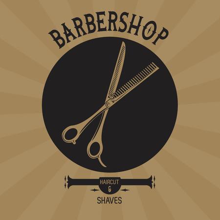 Barbershop vintage brown emblem with retro drawings vector illustration graphic design Vettoriali