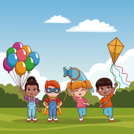 Cute kids playing at park cartoons vector illustration graphic design