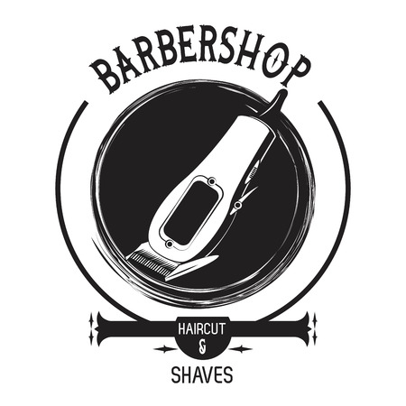 Barbershop vintage black and white emblem with retro drawings vector illustration graphic design