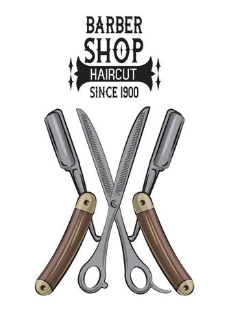Barbershop vintage emblem with colorful retro drawings vector illustration graphic design
