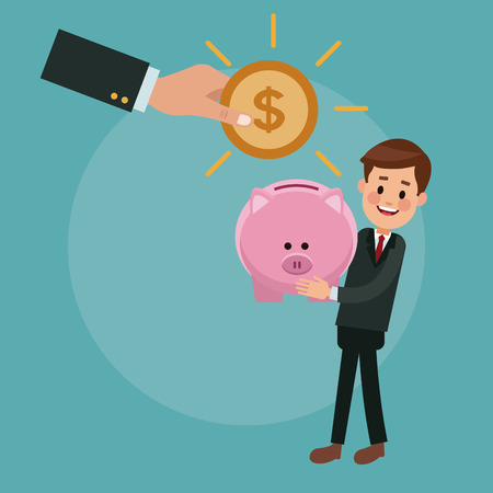 Businessman holding piggy and hand inserting coin vector illustration graphic design Illustration