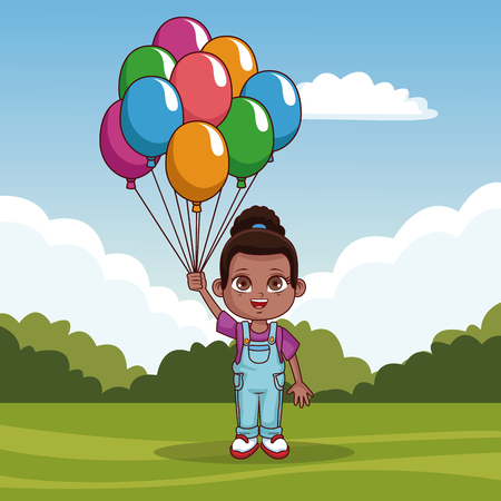 Beautiful girl with balloons at park vector illustration graphic design