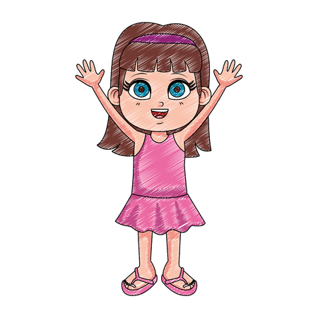 Beautiful girl with hands up cartoon vector illustration graphic design