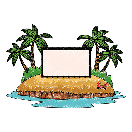 Blank wooden sihn on beach cartoon vector illustration graphic design