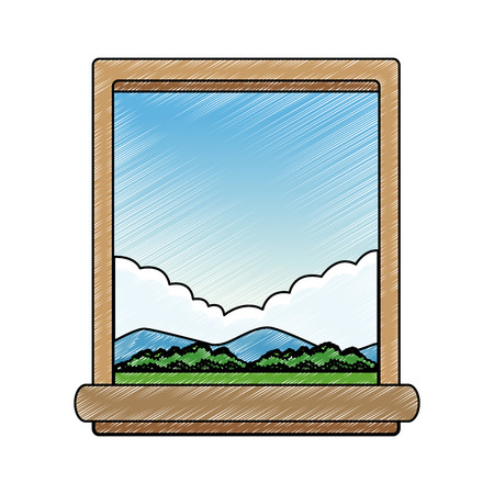 Window and landscape vector illustration graphic design