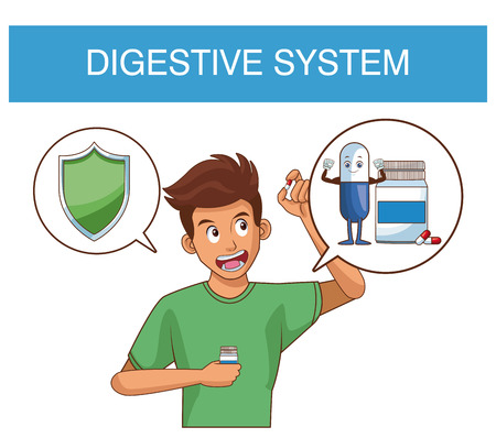 Digestive system and young man with round symbols vector illustration graphic design