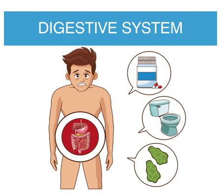 Sistema digestivo y hombre joven con diseño gráfico de ilustración de vector de símbolos redondos