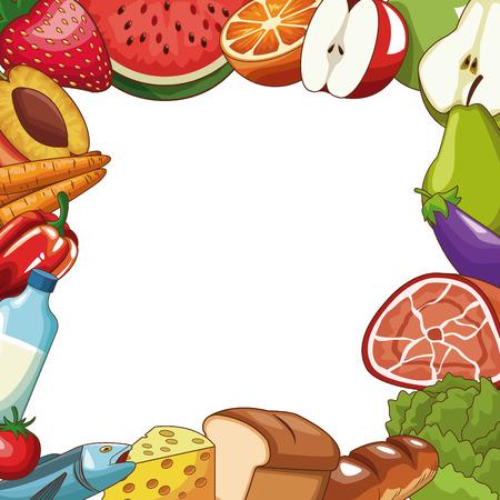Set of healthy food cartoons vector illustration graphic design