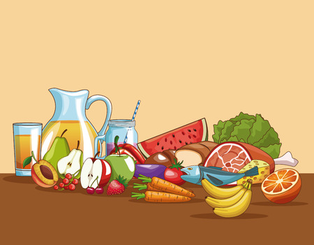 Healthy food on table cartoons vector illustration graphic design