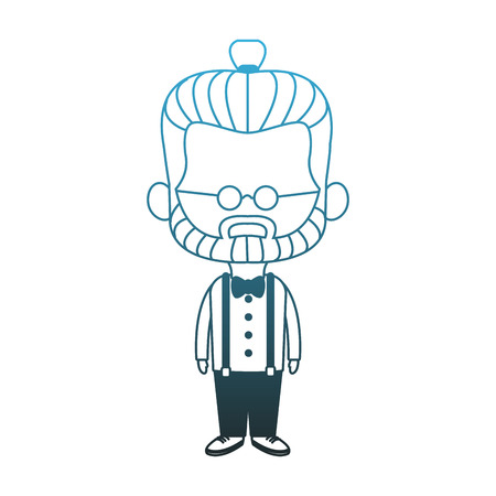 Midget hispter with glasses cartoon vector illustration graphic design Illustration