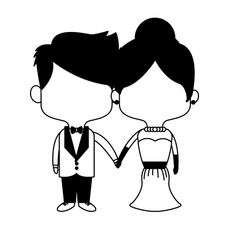Groom and bride midgets cartoon vector illustration graphic design  イラスト・ベクター素材