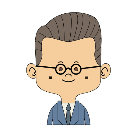 Midget businessman with glasses cartoon vector illustration graphic design
