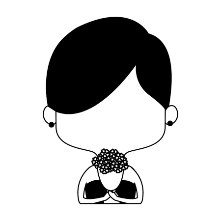 Beautiful midget woman with dress and flowers cartoon vector illustration graphic design Illustration