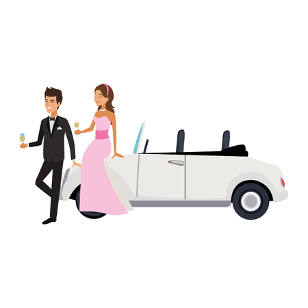 Bride and groom with sport car vector illustration graphic design