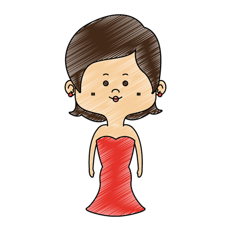 Beautiful midget woman with dress cartoon vector illustration graphic design