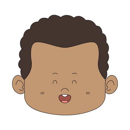Cute midget afro man face vector illustration graphic design