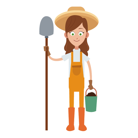 Woman farmer with shovel and bucket vector illustration graphic design