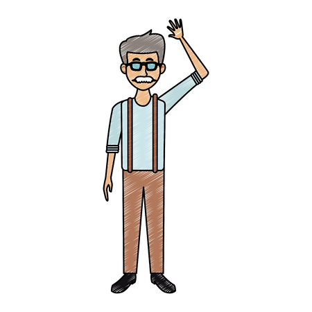 Old man with glasses and mustache cartoon vector illustration graphic design  イラスト・ベクター素材