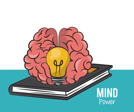 Braind and big idea on book vector illustration graphic design