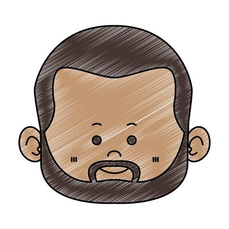 Nettes Zwerg-Afro-Manngesicht mit Bartvektorillustrationsgrafikdesign