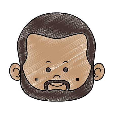 Visage d'homme afro nain mignon avec barbe vector illustration graphisme