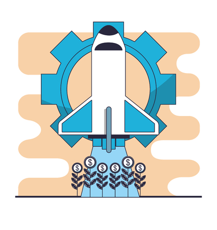 Spaceship taking off from money harvest vector illustration graphic design