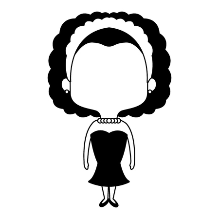 Beautiful midget woman with flowers headband cartoon vector illustration graphic design Illustration