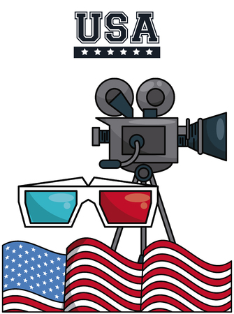 Movie camcorder with 3d glasses and usa flag vector illustration graphic design