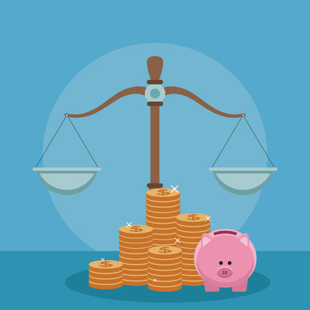Balance with money and piggy vector illustration graphic design