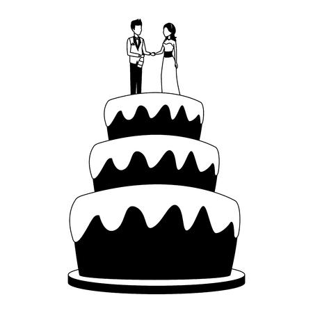Wedding cake on table cartoon vector illustration graphic design Illustration
