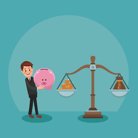 Businessman leading balance with money vector illustration graphic design  イラスト・ベクター素材