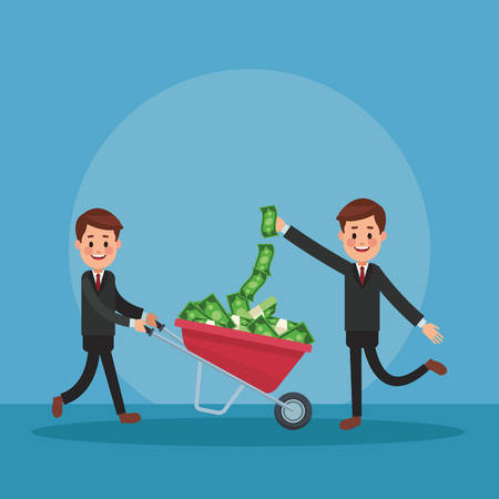 Businessmens with pushing wheelbarrows with money vector illustration graphic design