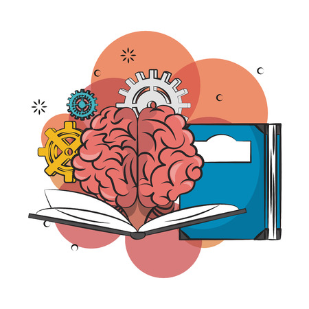 Human brain and book with gears vector illustration graphic design
