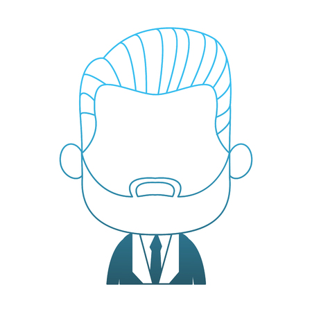 Cute midget businessman with beard profile vector illustration graphic design Illustration