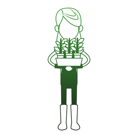 Woman farmer with plant pot vector illustration graphic design
