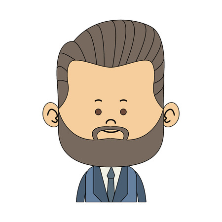 Cute midget businessman with beard profile vector illustration graphic design Illustration