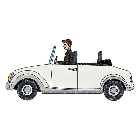 Man driving classic sport car vector illustration graphic design