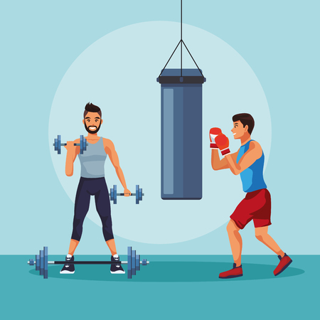 Young mens boxing and lifting weights vector illustration graphic design
