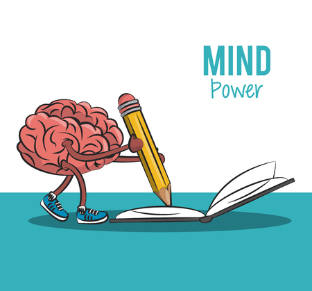 Brain cartoong writing on book with pencil vector illustration graphic design
