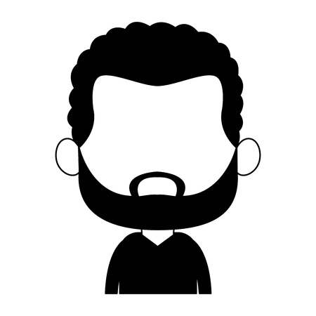 Cute midget black man with beard profile vector illustration graphic design Illustration