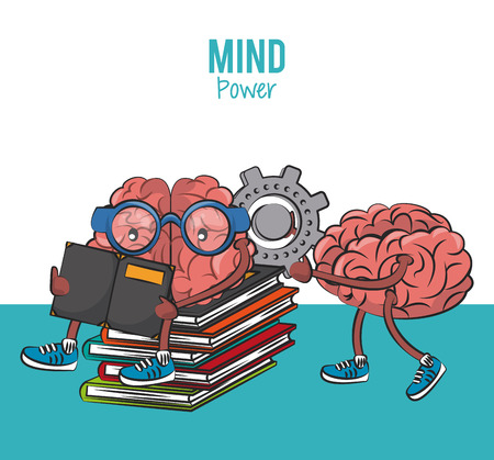 Brains seated on books piled and holding gear cartoon vector illustration graphic design Иллюстрация