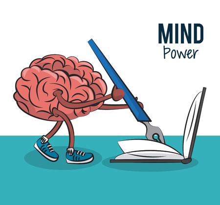 Gehirnkarikaturschreiben auf Buchvektorillustrationsgrafikdesign