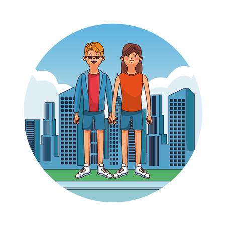 Pareja joven y linda en diseño gráfico del ejemplo del vector del icono redondo de la ciudad