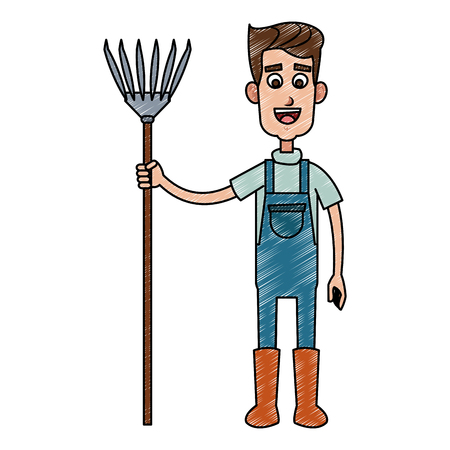 Farmer man with rake vector illustration graphic design  イラスト・ベクター素材